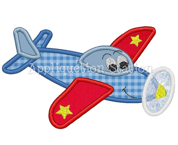 Airplane Plane Character Applique Machine Embroidery Design blue red boy vehicle INSTANT DOWNLOAD