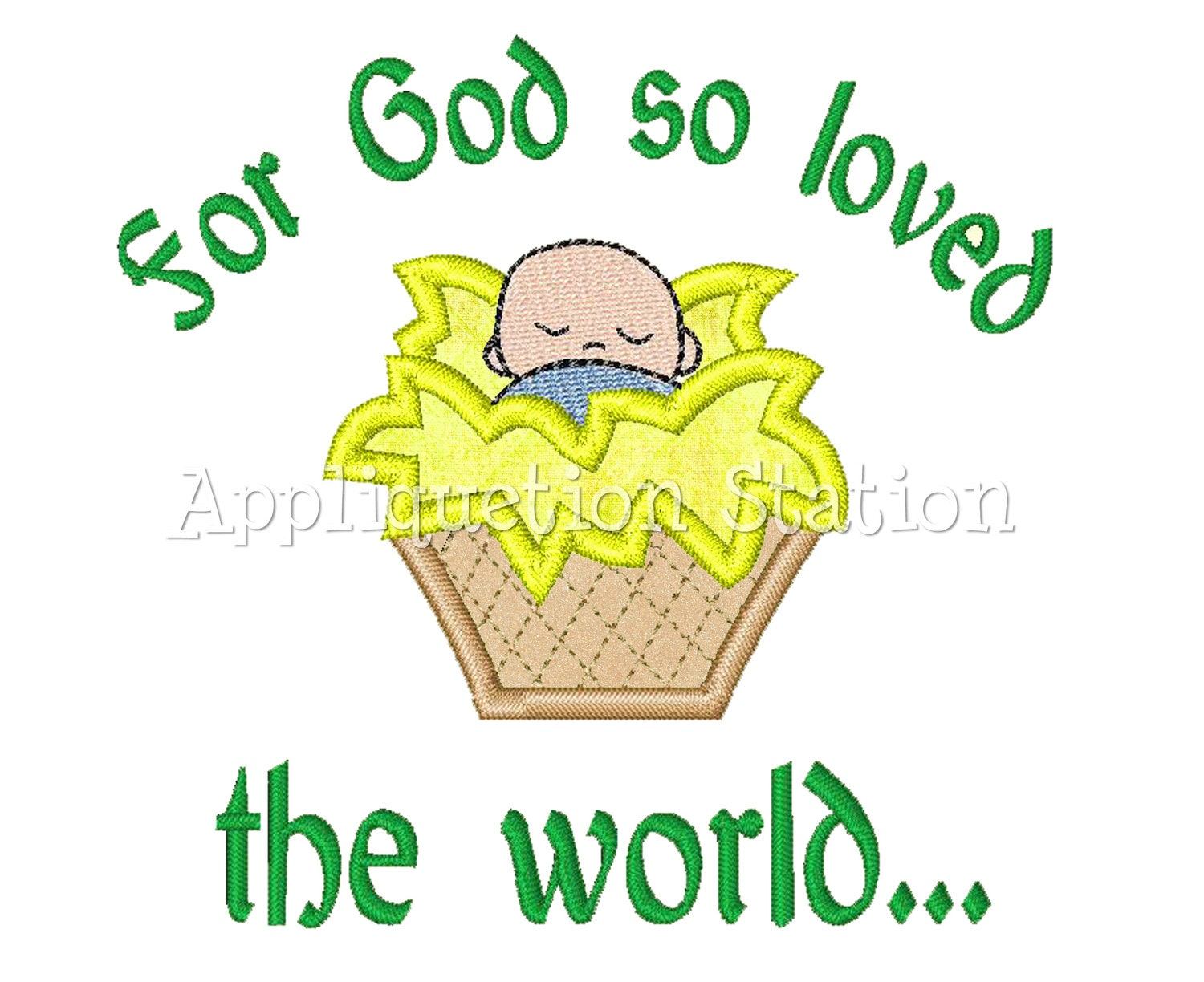 Baby Jesus Applique Machine Embroidery Design Candy Christmas