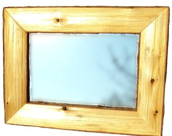Half Log Framed Mirror, Log Mirror, Rustic Framed Mirror, Cabin Decorating