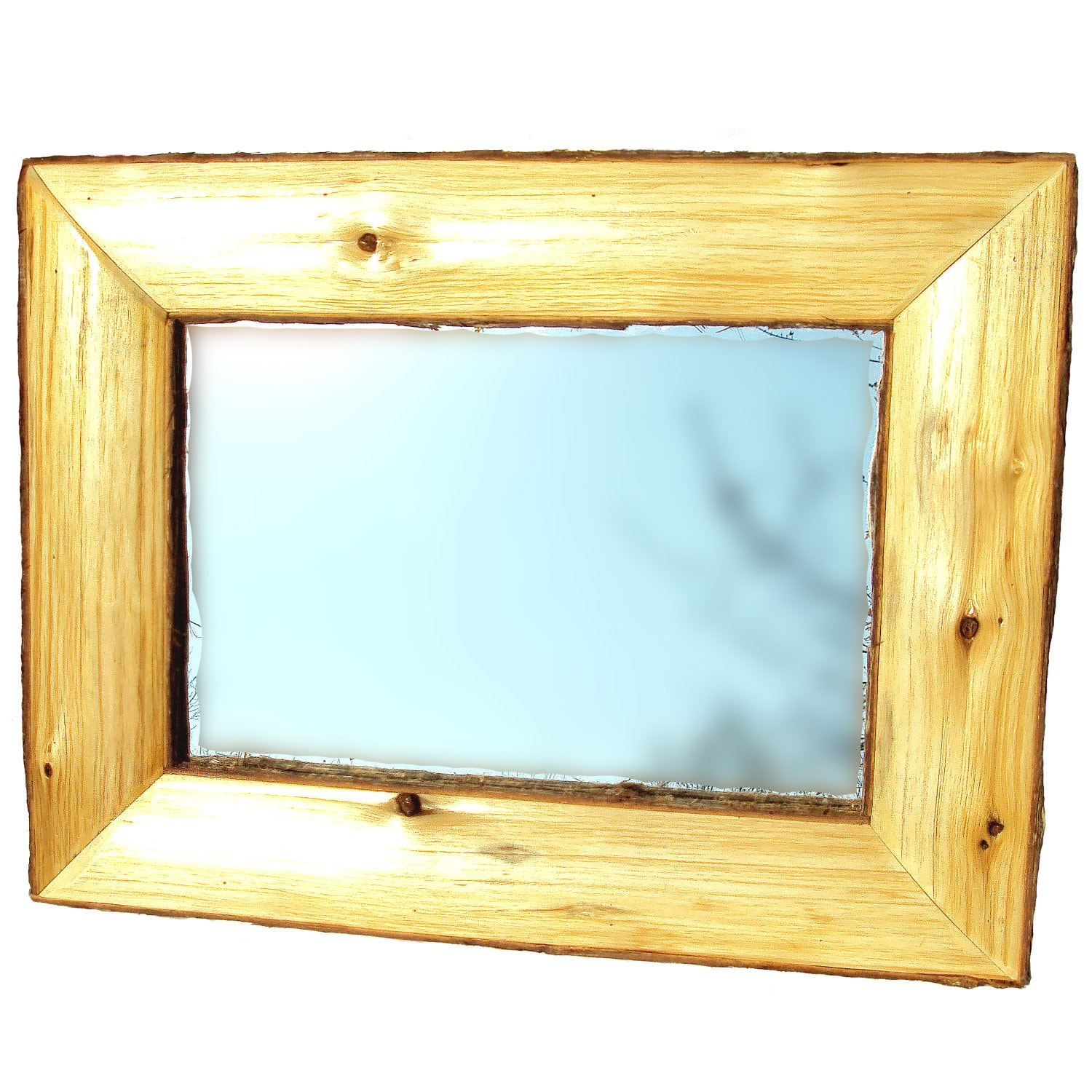 Half log framed mirror log mirror rustic framed mirror for Rustic mirror