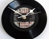 "WINGS CLOCK from recycled 7"" vinyl record. Paul McCartney ""Silly Love Songs"". Great Wedding Anniversary or Birthday gift present Beatles fan"
