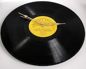 """Johnny Cash Vinyl Record CLOCK made from recycled 12"""" album,. On the SUN label. Cool retro look..."""