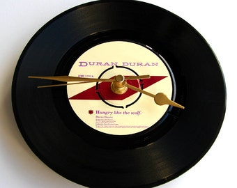 "DURAN DURAN Vinyl Record CLOCK ""Hungry Like the Wolf"" recycled 7"" single. Great for nature lovers, werewolves and 80s pop music lovers"