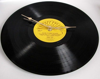 "Johnny Cash Vinyl Record CLOCK made from recycled 12"" album,. On the SUN label. Cool retro look..."