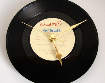 """MADNESS Vinyl Record CLOCK from recycled 7"""" single """"Our House"""". Comes in a box."""