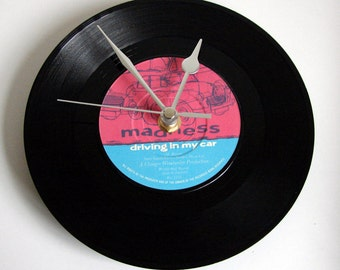 "MADNESS Vinyl Record CLOCK from recycled 7"" single ""Driving in My Car"". Gift for dad, mum, boyfriend, grandad, grandma, new driver, Mod Ska"