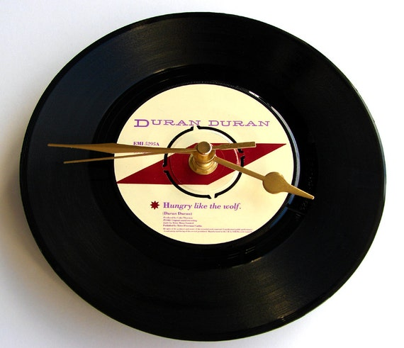 """DURAN DURAN Vinyl Record CLOCK """"Hungry Like the Wolf"""" recycled 7"""" single. Great for nature lovers, werewolves and 80s pop music lovers"""