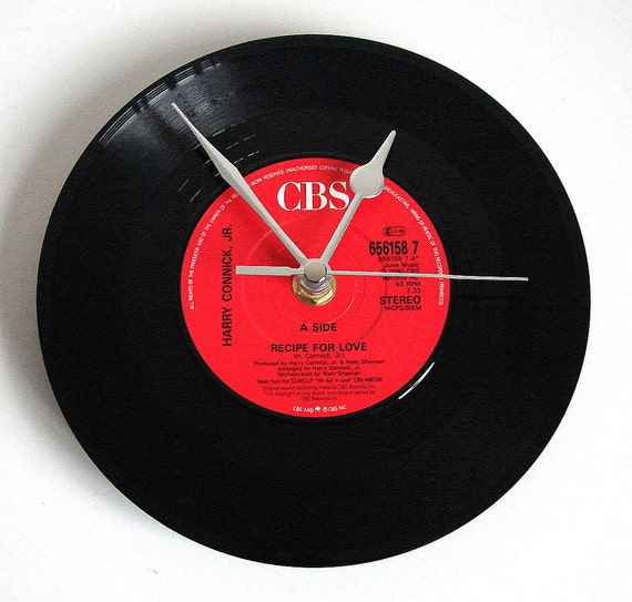 """Harry Connick Jr Vinyl Record CLOCK made from recycled 7"""" vinyl. """"Recipe for Love"""" Retro chic kitchen clock gift for chef cook cupcake maker"""