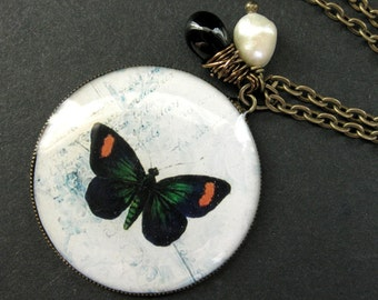 Butterfly Necklace. Black Butterfly Pendant with Fresh Water Pearl and Black Glass Teardrop. Handmade Jewelry.