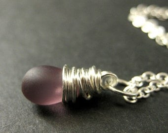 Clouded Purple Teardrop Necklace in Silver. Bridesmaid Jewelry. Wire Wrapped Teardrop Pendant. Handmade Necklace.