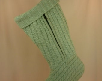 Christmas Stocking Felted Wool//Cable Knit//Green//Zipper 086