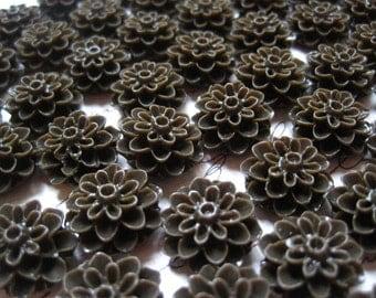 Resin Mum Cabochon, Resin Flower Cabochons, 12 pcs Chocolate Brown Resin Dahlia Mum 15mm