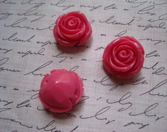 Chunky Beads, Dark Pink Flower Beads, 3 pcs Gumball Beads, Bubble Gum Beads, 21mm x 13mm, 2mm Hole for Stringing