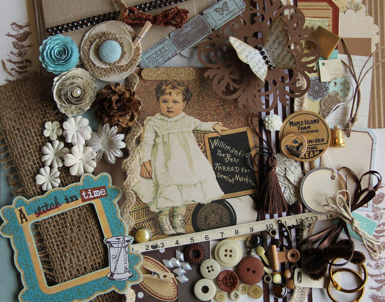 Chipboard mini album kit a stitch in time