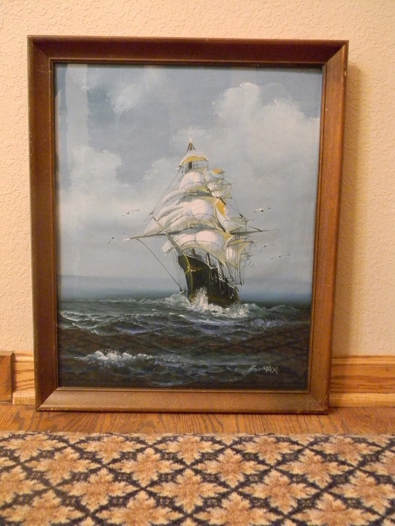 Vintage Nautical Impressionist Painting, Signed  SALE PRICED