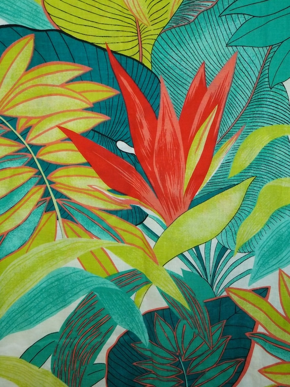 Vintage Tropical Botanical Floral Leaves Fabric By The Yard
