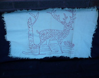 Vintage embroidered red stag pillow cover