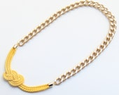 Gold Chunky Chain with yellow silk knot necklace - 24k gold plated - Statement bib