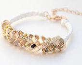 on sale! Arm candy - Gold nut beads and White cord - woven bracelet