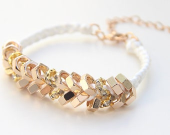 ON SALE: Arm candy - Gold nut beads and White cord - woven bracelet