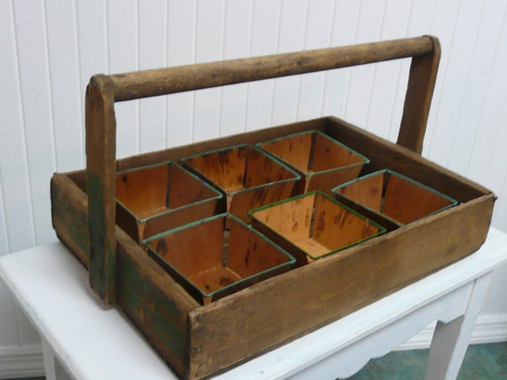 Primitive Berry Basket Carrier With Six Wooden Berry Baskets