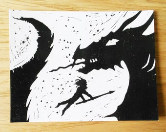 Beowulf Sea Monster Silhouette Postcard - Black and White Linocut
