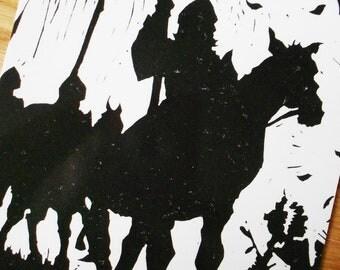 Beowulf Silhouette Print - Linocut Postcard