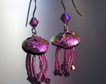 New Price Magnificent Magenta Iridescent Jellyfish Earrings