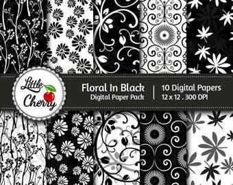 Floral In Black - 10 printable Digital Scrapbooking papers - 12 x12 - 300 DPI
