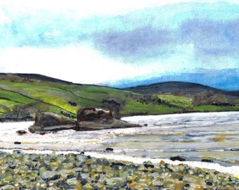Ancient Stones of Semerwater - Print of Original Water colour painting by Dave Smith