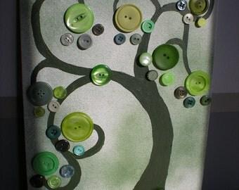 Green Button Tree Art
