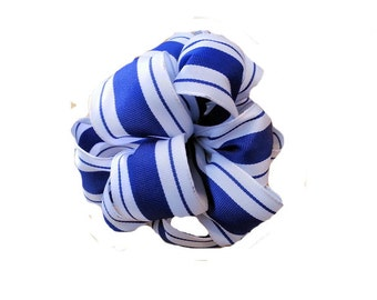 "1.5"" Royal Blue and White Stripe - Wired Woven Ribbon - 5 Yards"