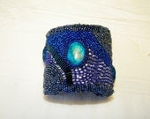 Blue and White Paua Shell Cuff