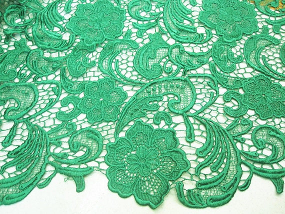 Emerald Green Lace Fabrics Embroidered Flowers Hollowed Florals Wedding Bridal Lace Fabric Costume Lace Fabric Supplies