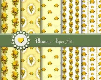 Yellow Roses Digital Paper, Digital Paper Pack Yellow Roses, Floral Digital Paper, Shabby Chic Digital Scrapbook Paper Pack - 1511