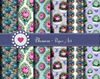 Digital Paper Blue Floral Digital Paper Pack, Blue Scrapbook Papers, Flowers Roses Digital Scrapbooking Pack - 1574