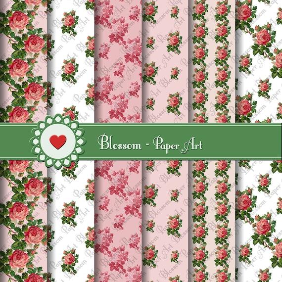 Papeles decorativos rosas vintage papeles floreados para - Papeles decorativos de pared ...