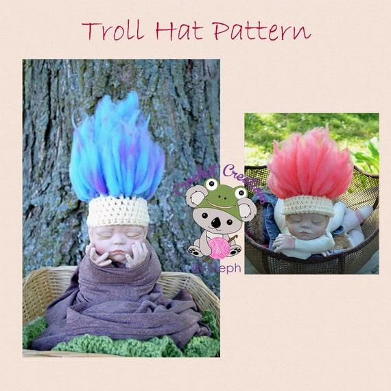 Trolls Knitting Or Crocheting Patterns : Items similar to troll hat pattern on etsy