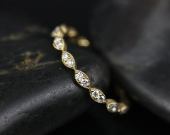 Leah 14kt Yellow Gold  Extra Low Profile Leaves Diamonds FULL Eternity Band (Other Metals and Stone Options Available)