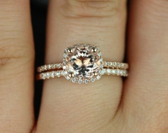 Barra 7mm 14kt Rose Gold Round Morganite Cushion Halo Wedding Set (Other metals and stone options available)