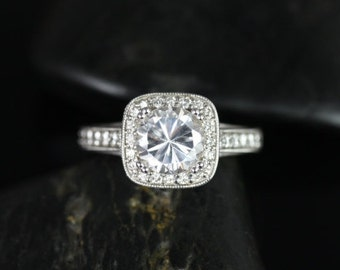 Daria 7mm 14kt White Gold  Round F1- Moissanite and Diamonds Engraved Cushion Halo Engagement Ring(Other Metals and Stone Options Available)