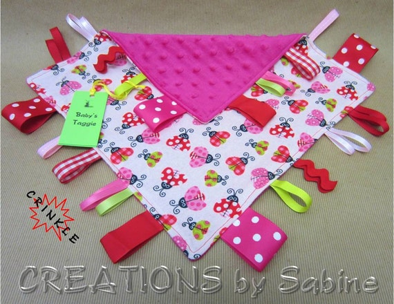Baby Tag Blanket, Taggie Sensory Toy, Ribbon Blanket, Lovie, Blankie, pink, red, green, girl, ladybugs, READY TO SHIP 144