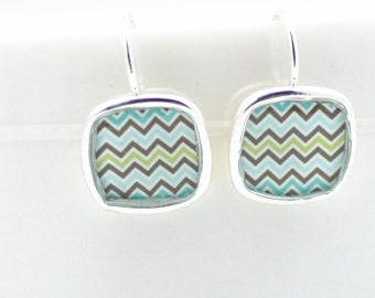 Chevron Aquamarine Earrings | Silver Square Earrings | Spring Colors Striped Earrings