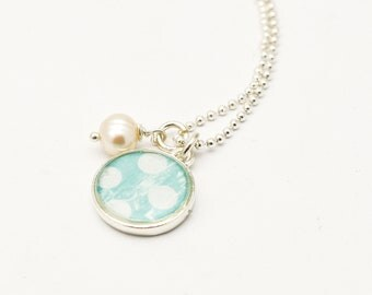 Polka Dot Necklace | Aqua Polka Dot Charm Necklace