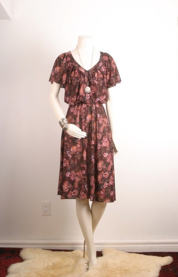 Summer dress vintage aubergine pink 1960s 1970s women size S or M small medium