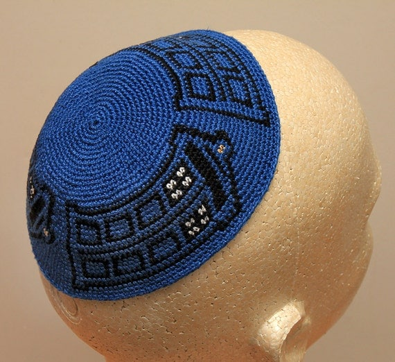 Crochet Patterns For Yarmulke : Dr. Who TARDIS Crocheted Kippah / Yarmulke by gsager on Etsy