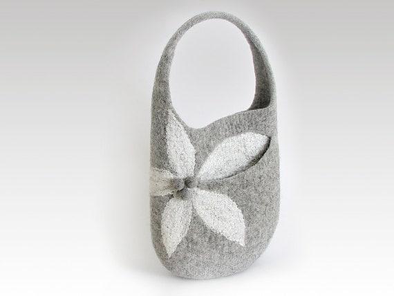 Felt bag, natural gray,  flower bag, medium sized bag