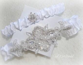 Crystal Bridal Garter Set,White,Off white or Ivory