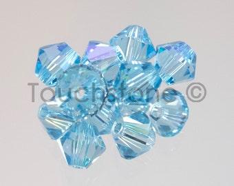 4mm Aqua Blue Glacier Swarovski Crystal Bicone Beads 72 Beads