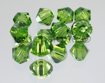 4mm Fern Green Swarovski Crystal Bicone Beads #45-1208